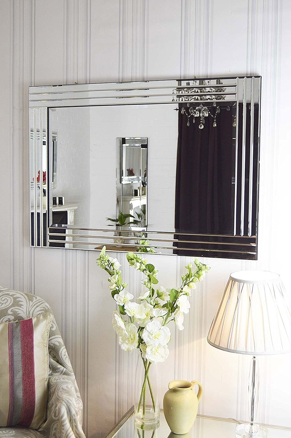 Large Venetian Bevelled Wall Mirror 3ft3x2ft3 100cm X 70cm Amazon Pertaining To Venetian Bevelled Mirror (Image 5 of 15)