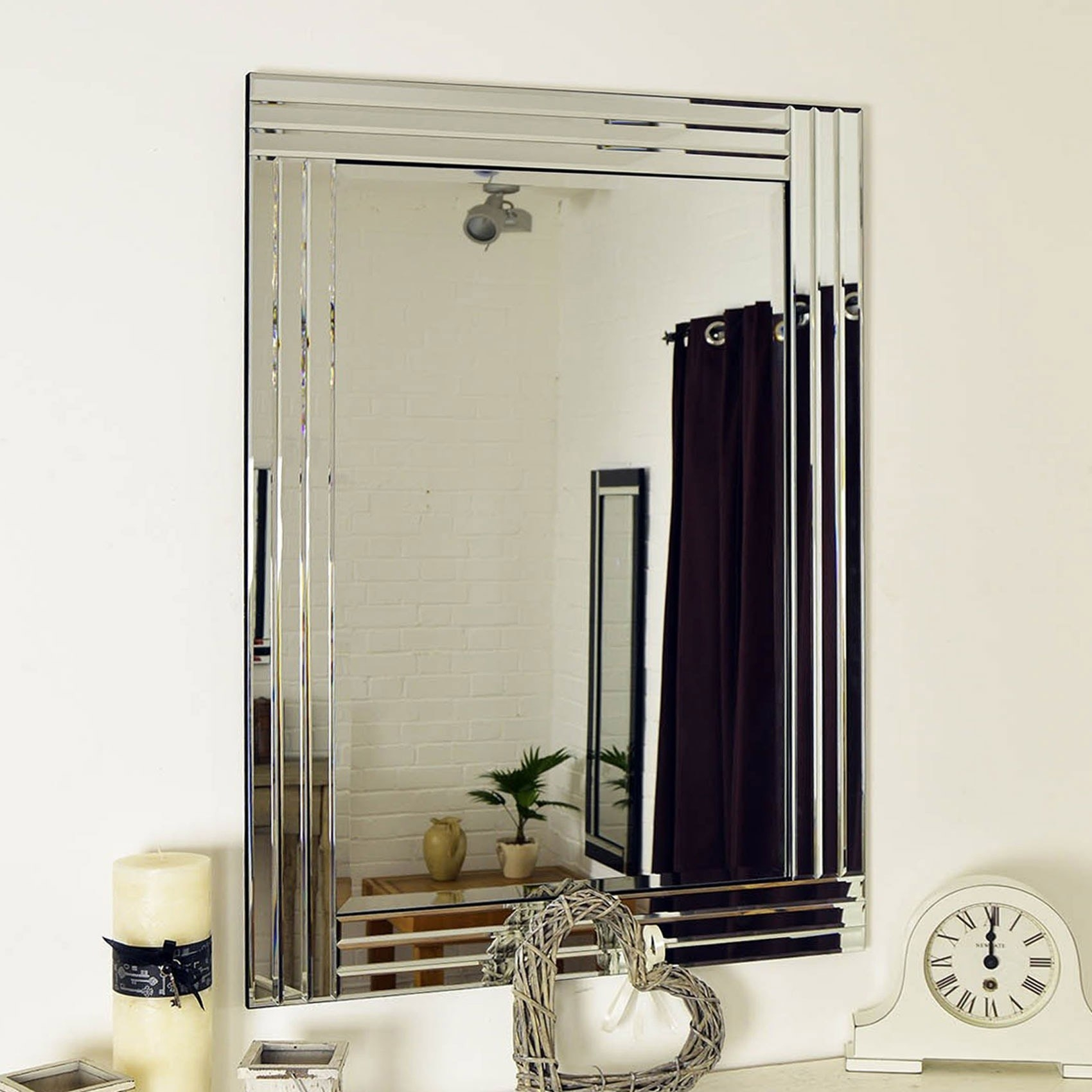 Large Venetian Bevelled Wall Mirror 3ft3x2ft3 100cm X 70cm Pertaining To Large Glass Bevelled Wall Mirror (Image 15 of 15)