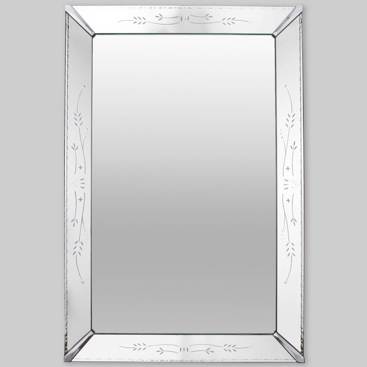 Large Venetian Mirror With Etched Frame For Sale At 1stdibs In Large Venetian Mirror (Image 10 of 15)