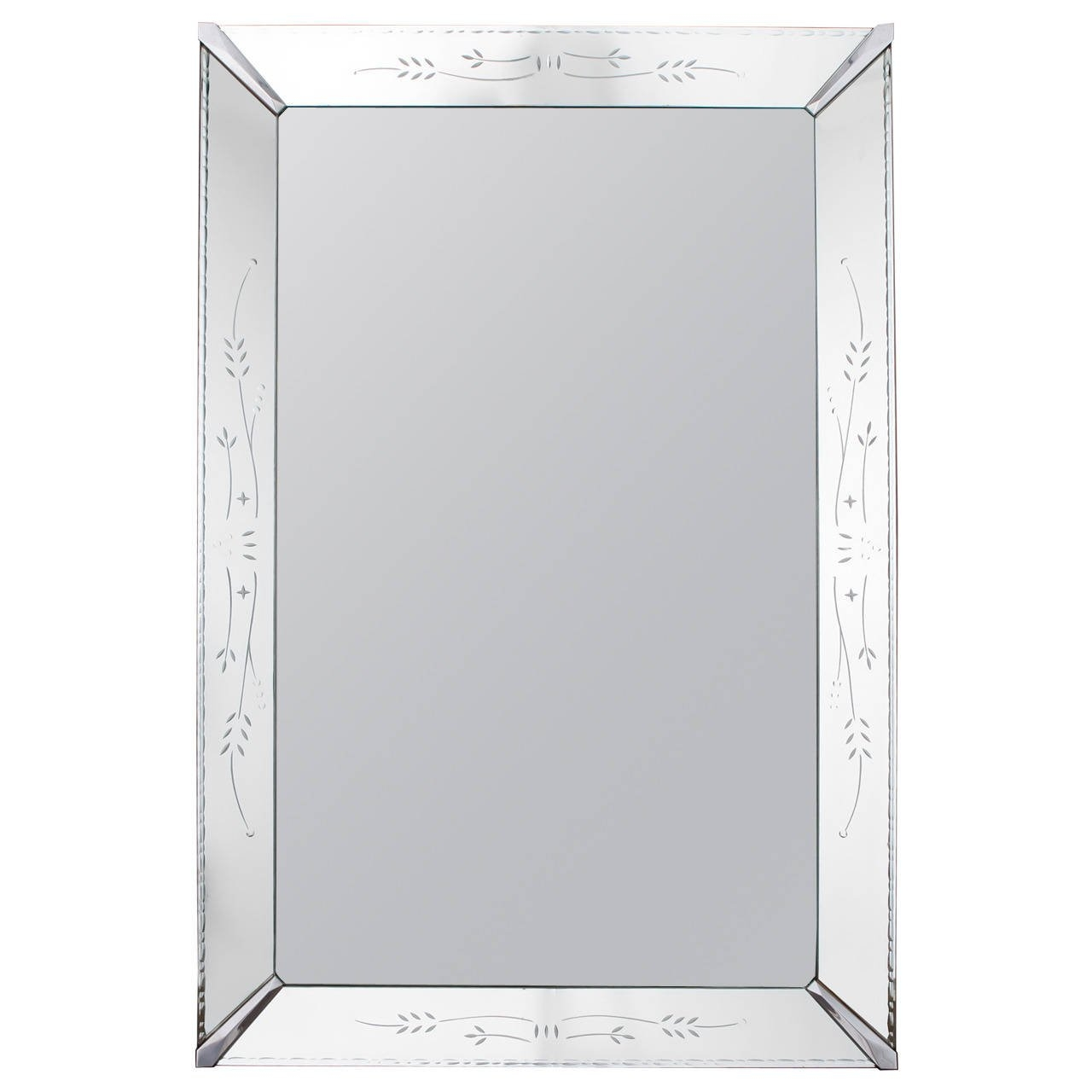 Large Venetian Mirror With Etched Frame For Sale At 1stdibs Inside Large Venetian Mirror (Image 11 of 15)