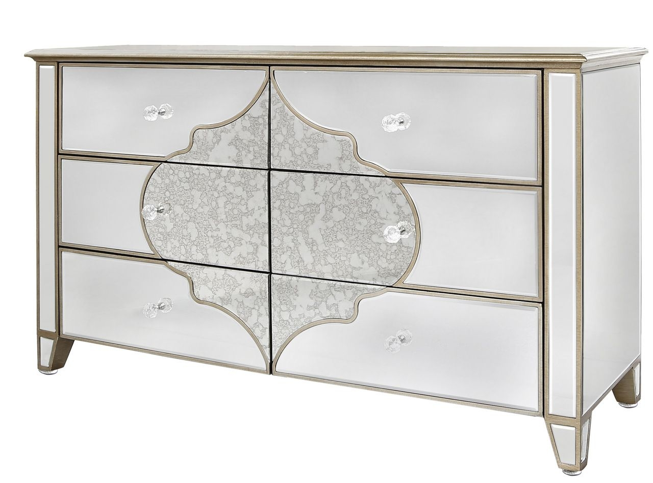Large Venetian Mirrored Chest Of 6 Drawers With Gold Pattern For Venetian Mirrored Chest Of Drawers (Image 4 of 15)