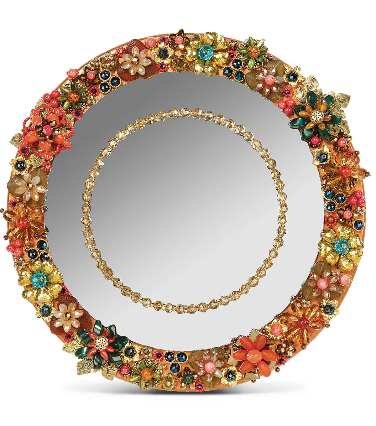 Large Vintage Embellished Deco Jewelry Wall Mirror Rhinestone Pertaining To Embellished Mirrors (Image 9 of 15)