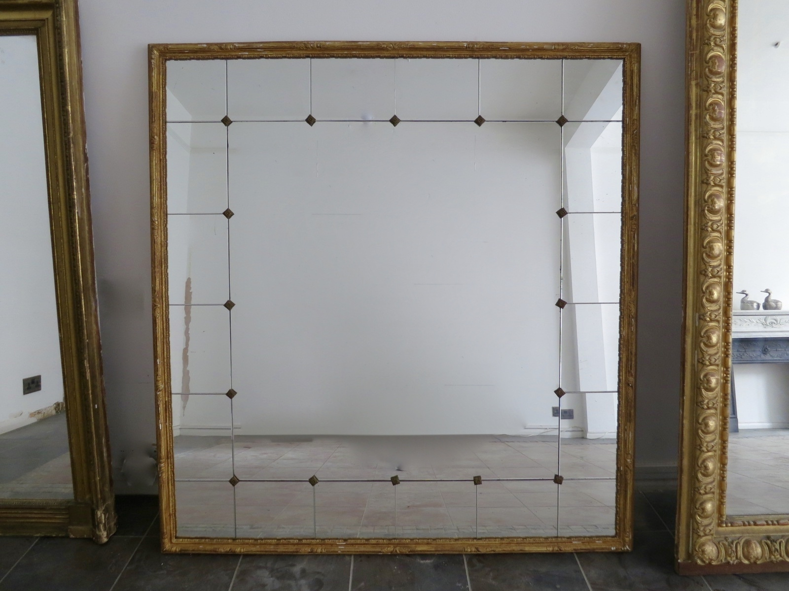 Large Vintage French Gilt Panelled Mirror For Sale At Pamono Inside Vintage French Mirror (Image 10 of 15)
