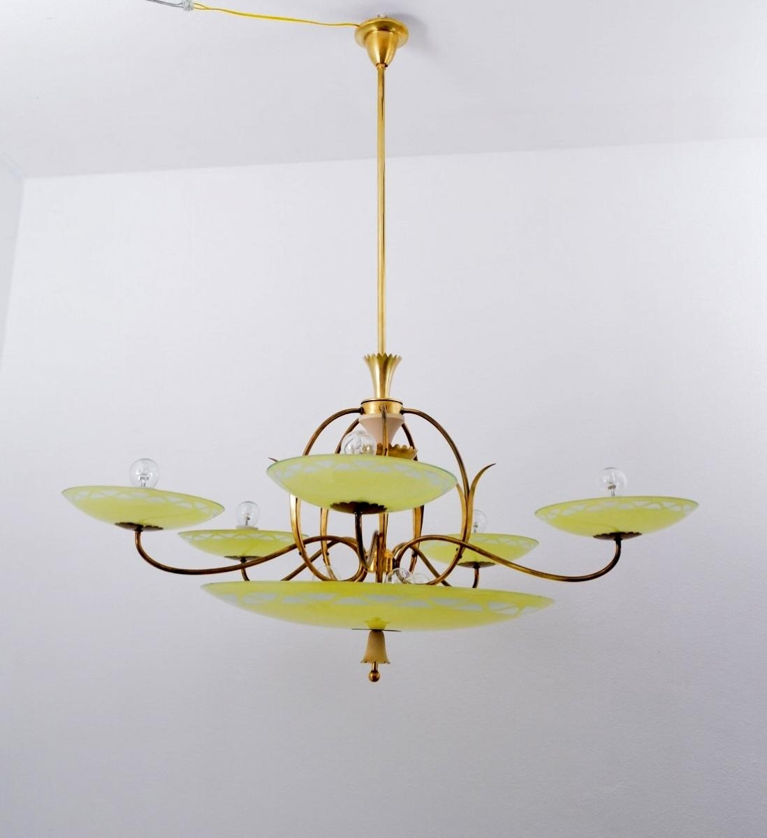 Large Vintage Italian Art Deco Five Arm Brass Yellow Glass Inside Large Glass Chandelier (View 6 of 15)