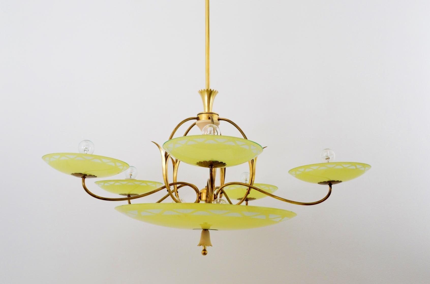 Large Vintage Italian Art Deco Five Arm Brass Yellow Glass Intended For Large Glass Chandelier (Image 12 of 15)