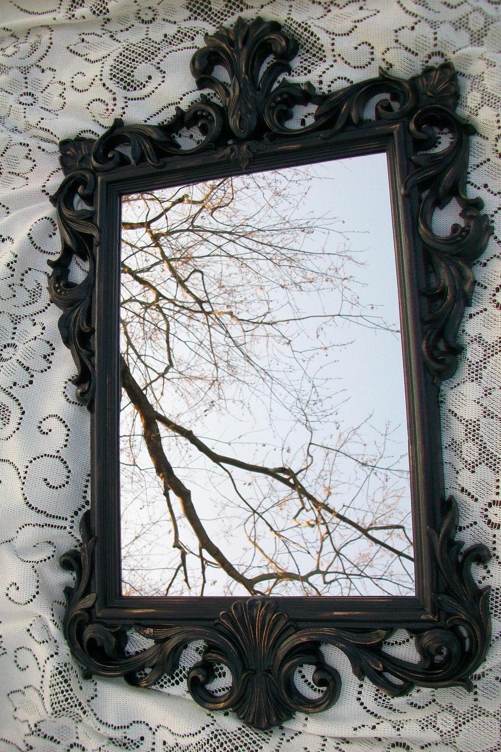 Large Vintage Mirror Black Mirror Ornate Mirror Gothic With Ornate Black Mirror (Image 9 of 15)