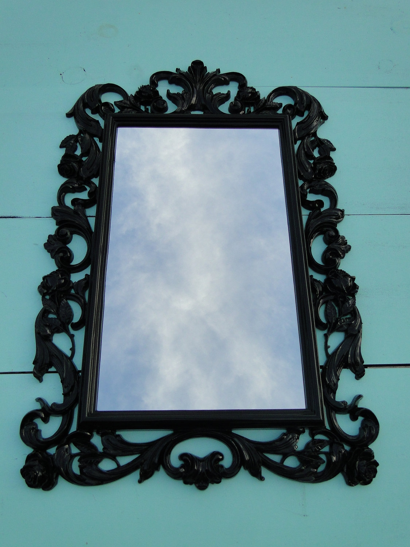 Large Vintage Mirror Black Mirror Ornate Mirror Gothic With Regard To Large Black Ornate Mirror (Image 10 of 15)