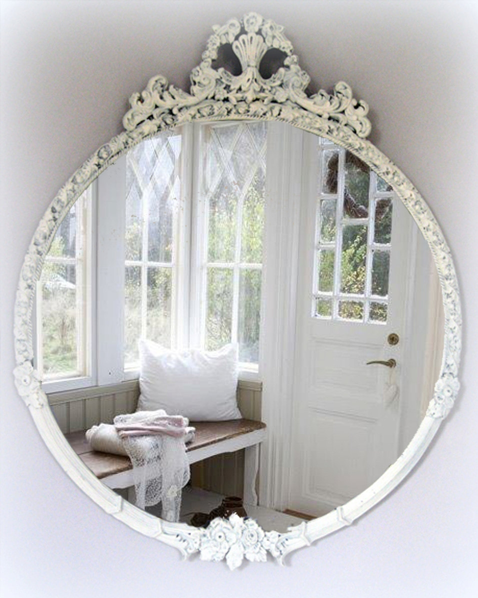 Large Vintage Shab Chic Mirror Cottage Chic French Country For Oval Shabby Chic Mirror (Image 8 of 15)