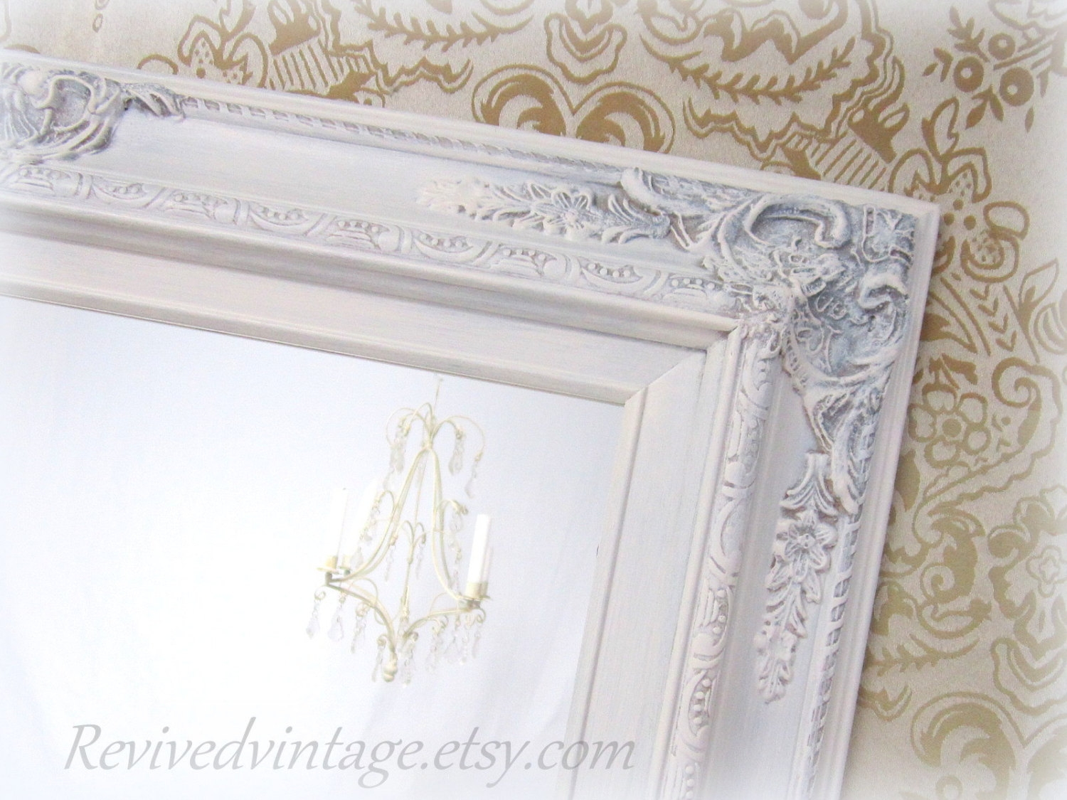 Large Wall Mirror Etsy Within White Shabby Chic Wall Mirror (Image 5 of 15)