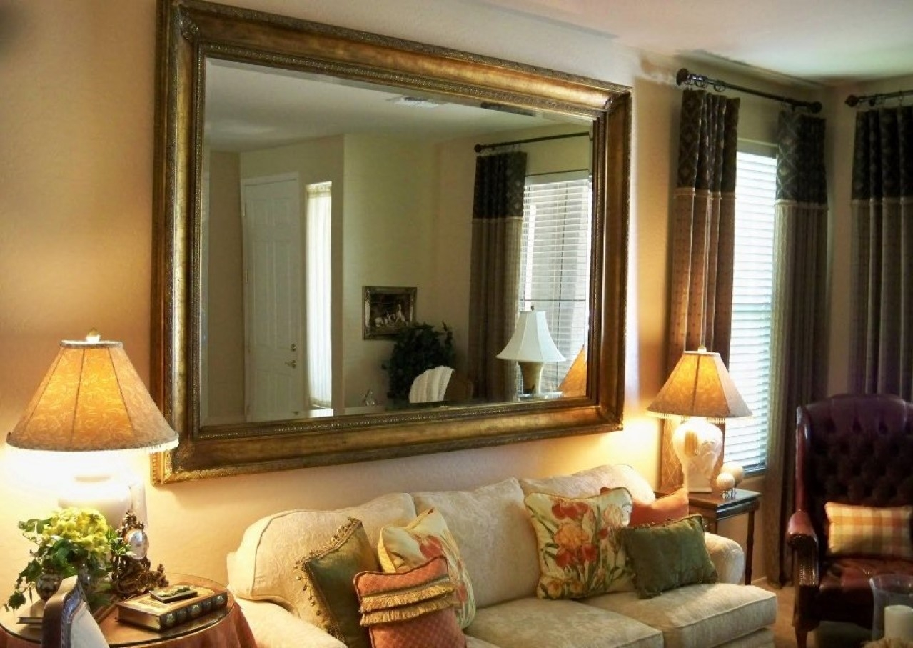 Large Wall Mirrors Without Frame Alluring Mirror Without Frame In Regarding Large Leather Mirror (Image 11 of 15)