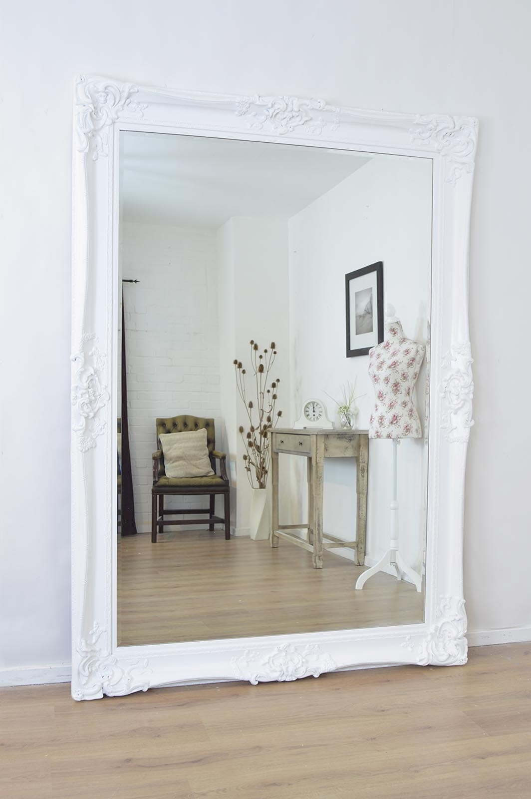 Large White Antique Shab Chic Ornate Mirror New 7ft X 5ft 213cm Inside Large Shabby Chic Mirror (Image 8 of 15)