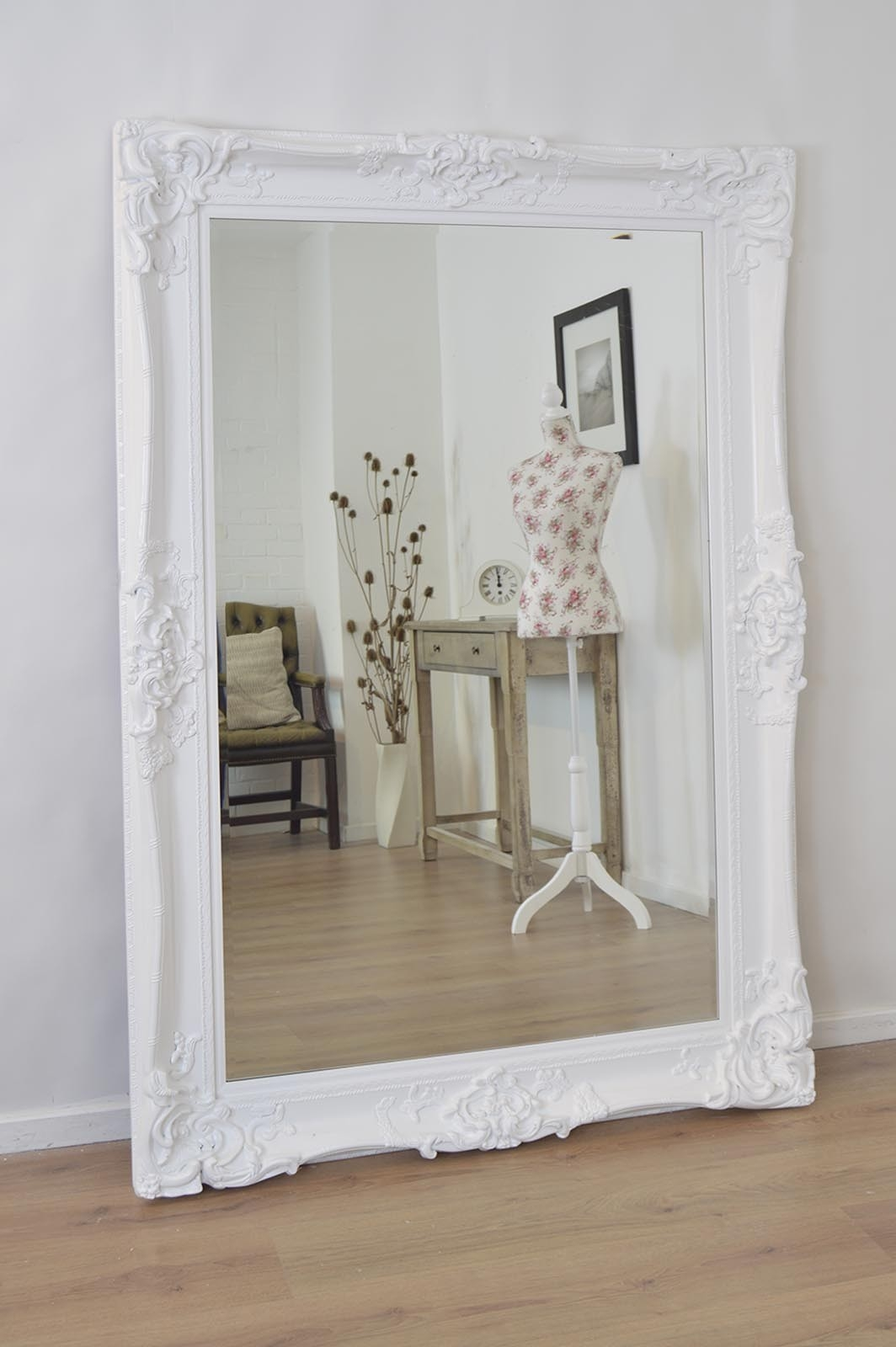Large White Antique Shab Chic Ornate Wall Mirror 6ft X 4ft Within Shabby Chic Floor Standing Mirror (Image 12 of 15)