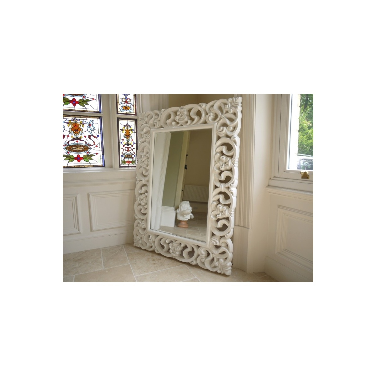 Large White Framed Mirror Penryn Mirror Mosaic Framed Large Size Intended For Large Ornate White Mirror (Image 4 of 15)