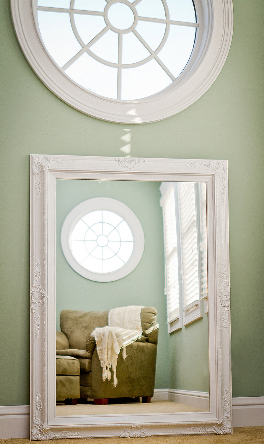 Large White Mirror For Sale 44×32 Vintage Inspired Intended For Large White Shabby Chic Mirror (Image 6 of 15)