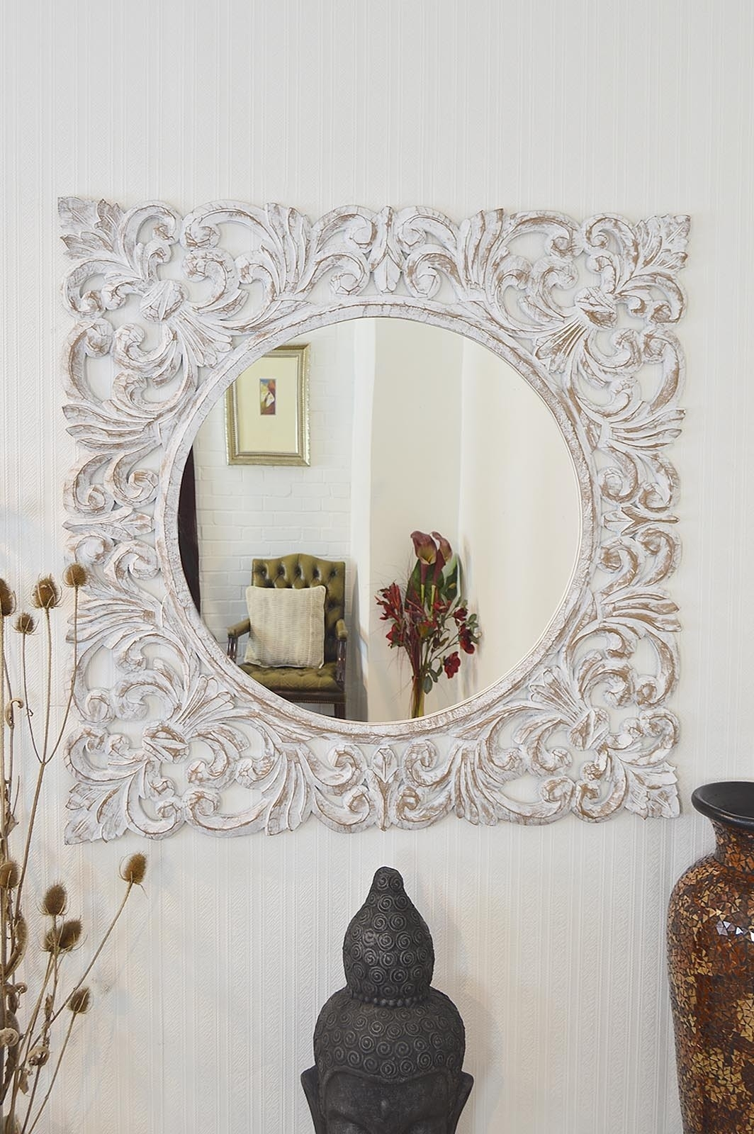 Large White Mirror Gillmore Space White And White Accent Minimal For Large Ornate White Mirror (Image 5 of 15)