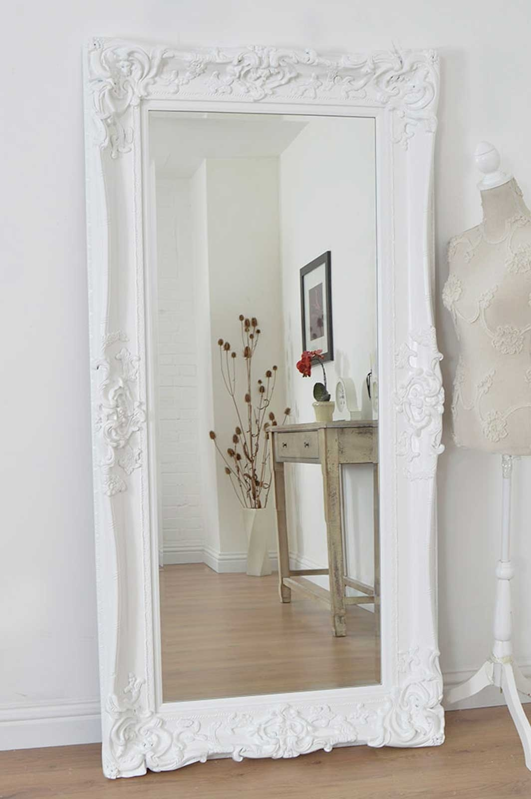 Featured Image of Large Ornate White Mirror