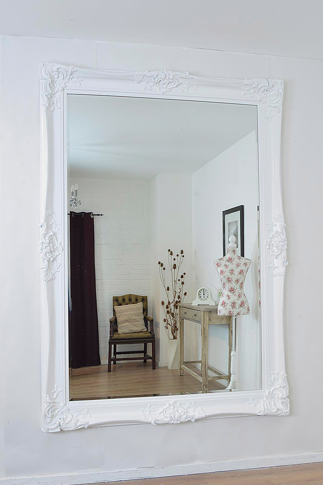 Large White Ornate Framed Wall Mirror 213cm X 152cm Large For Large White Ornate Mirror (Image 12 of 15)