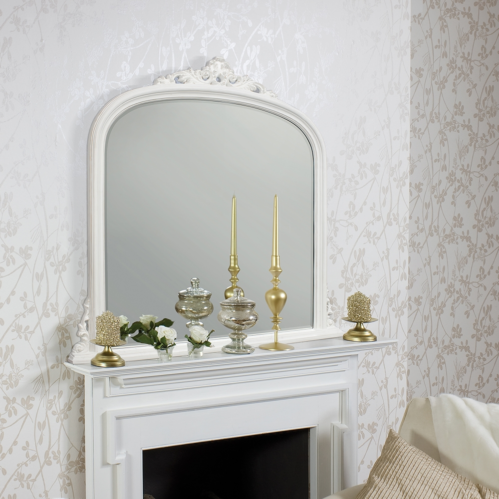Large White Overmantle Mirror 127 X 127 Cm Exclusive Mirrors Intended For Overmantle Mirrors (Image 10 of 15)