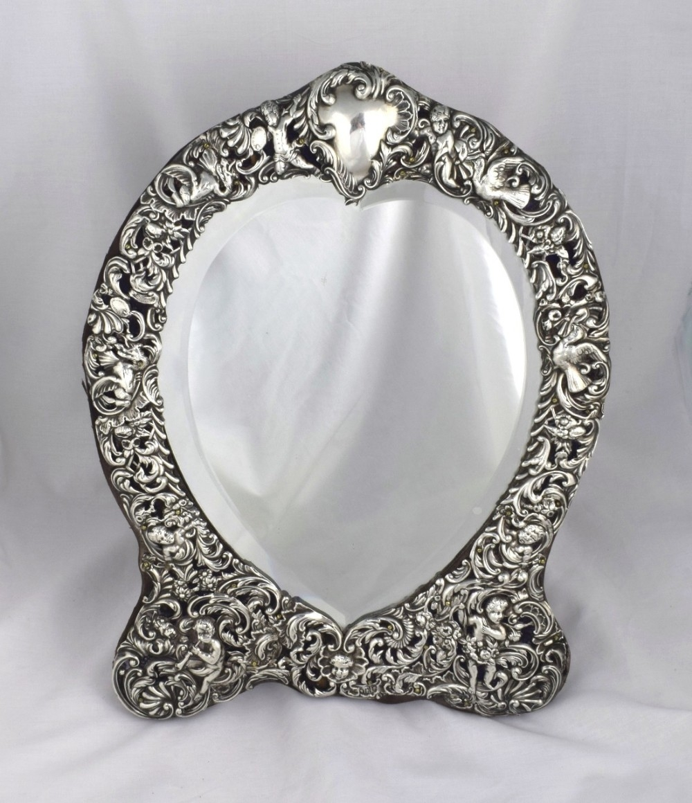 Large William Comyns Heart Shape Silver Dressing Table Mirror Within Silver Dressing Table Mirror (Image 8 of 15)