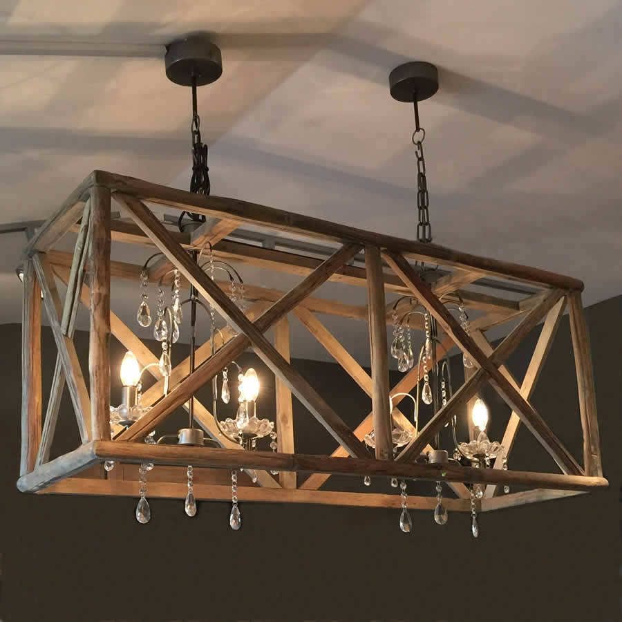 Large Wooden Chandelier With Metal And Crystal Islands Bespoke Regarding Large Iron Chandeliers (Image 11 of 15)