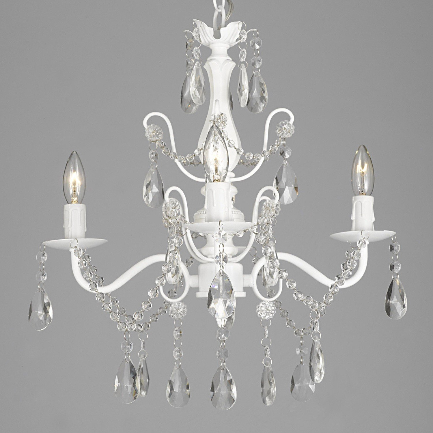 Lark Manor Padillo 4 Light Crystal Chandelier Reviews Wayfair With White Chandelier (Image 8 of 15)