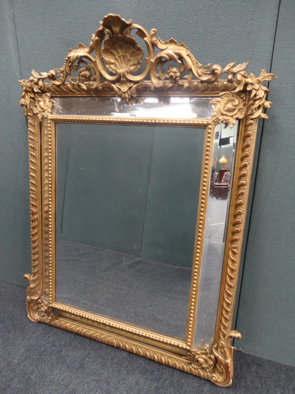Late 19th Century French Gilt Cushion Mirror 288645 Intended For French Mirrors Reproduction (Image 12 of 15)
