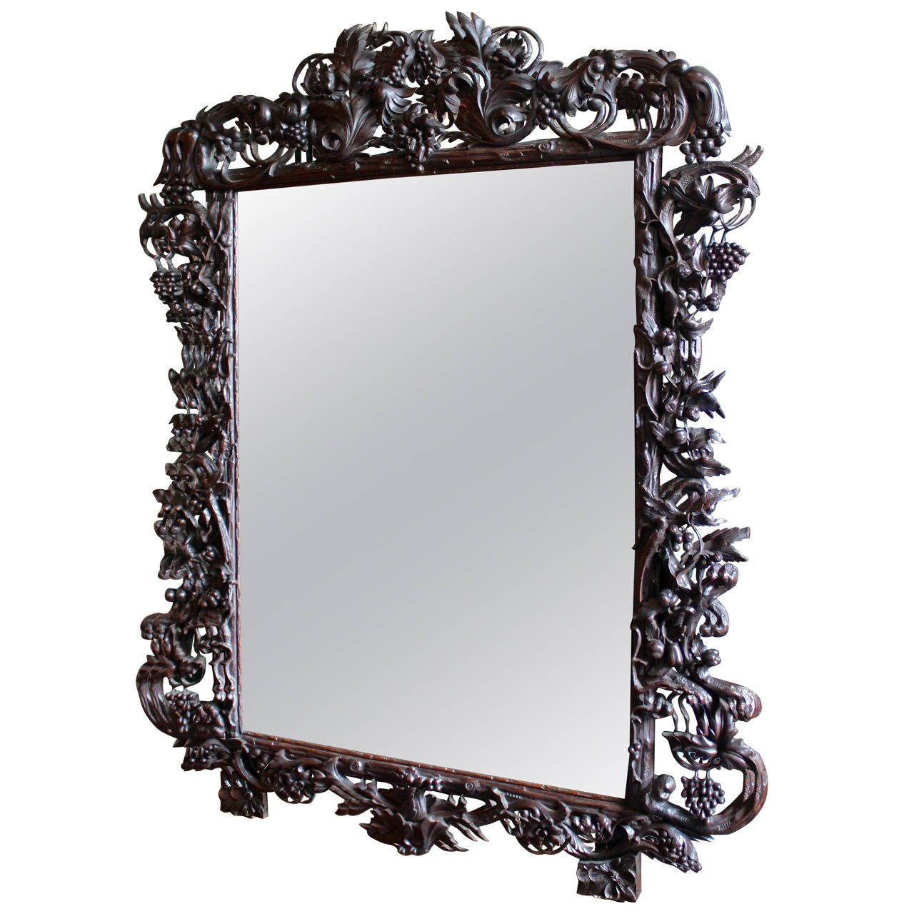Late 19th Century Ornate Large Black Forest French Mirror At 1stdibs With Ornate Black Mirror (Image 10 of 15)