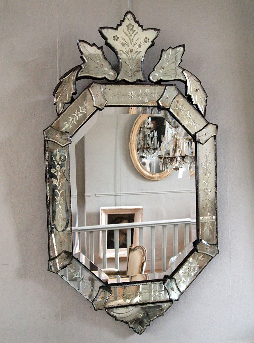 Late 19th Century Venetian Mirror Puckhaber Decorative Antiques Throughout Antique Venetian Mirrors (Image 11 of 15)