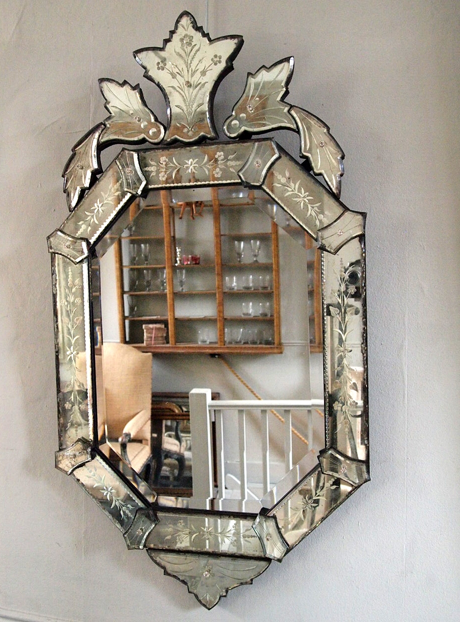 Late 19th Century Venetian Mirror Puckhaber Decorative Antiques With Regard To Venetian Antique Mirror (Image 12 of 15)