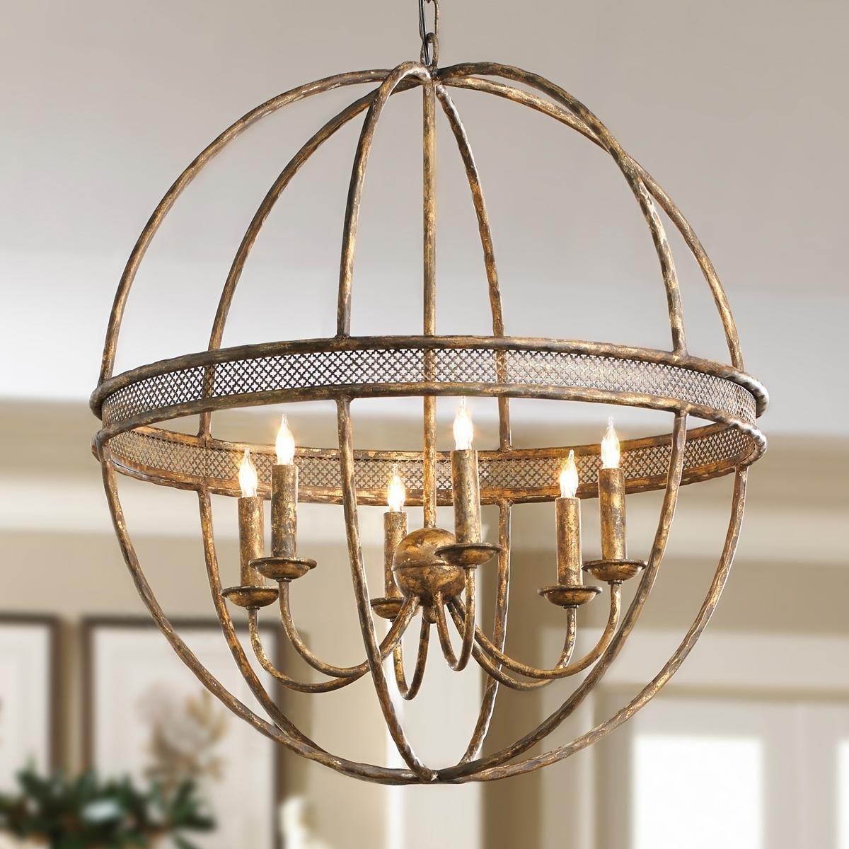 Lattice Banded Sphere Chandelier Aged Golden Lattice Adds The Within Metal Sphere Chandelier (Image 8 of 15)