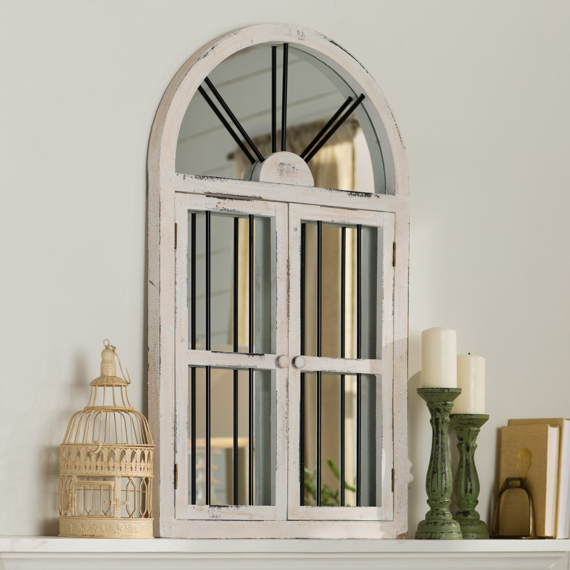 Laurel Foundry Modern Farmhouse Faux Window Wood Wall Mirror In Arched Wall Mirror (Image 10 of 15)