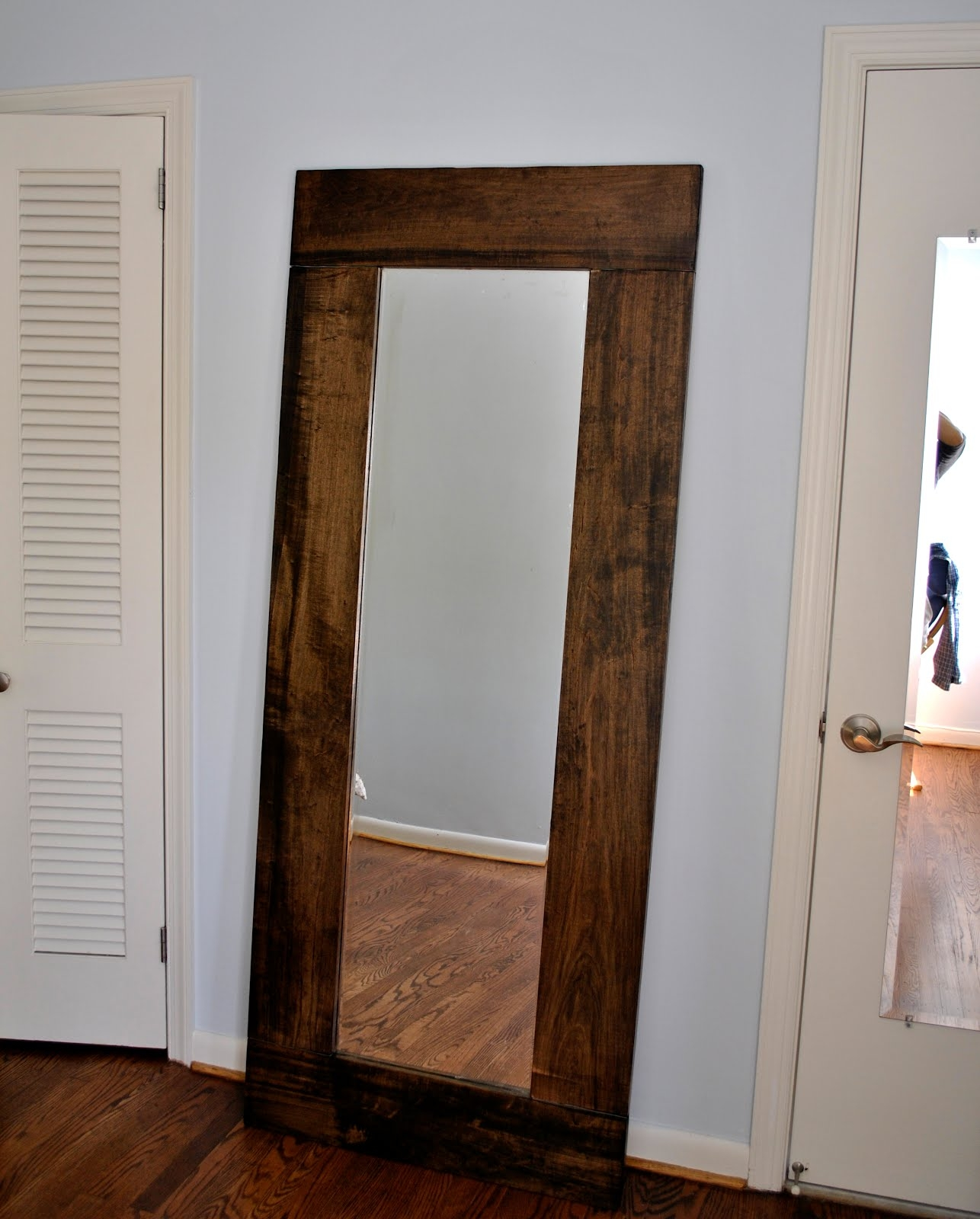Leaned Wooden Framed Wall Mirror In Extra Large Part Of Furniture Inside Big Mirrors (Image 12 of 15)