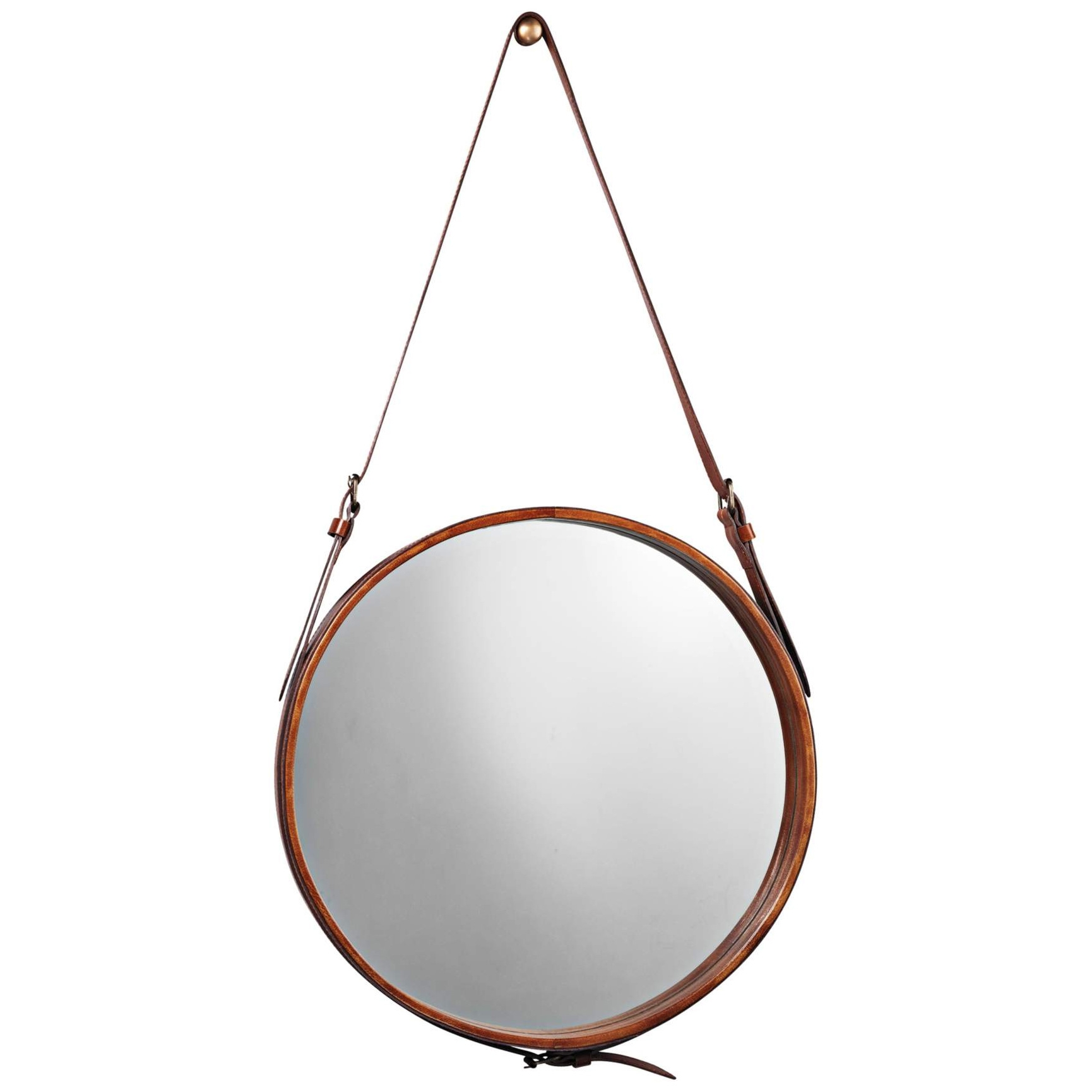 Leather Mirror Jamie Young Company 7roun Mibr Throughout Leather Round Mirror (Image 7 of 15)