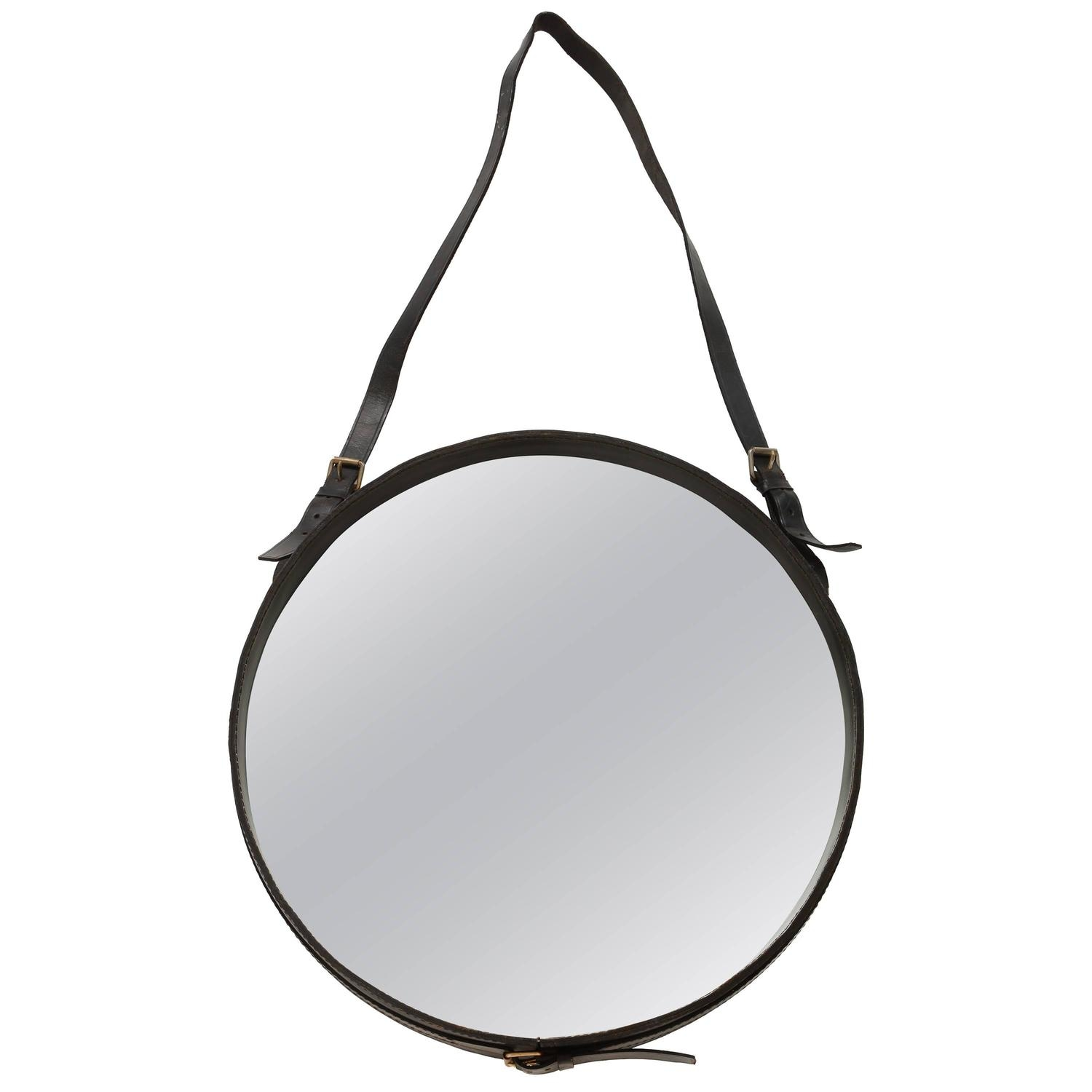 Leather Wall Mirrors 94 For Sale At 1stdibs Pertaining To Round Mirror Leather (Image 8 of 15)