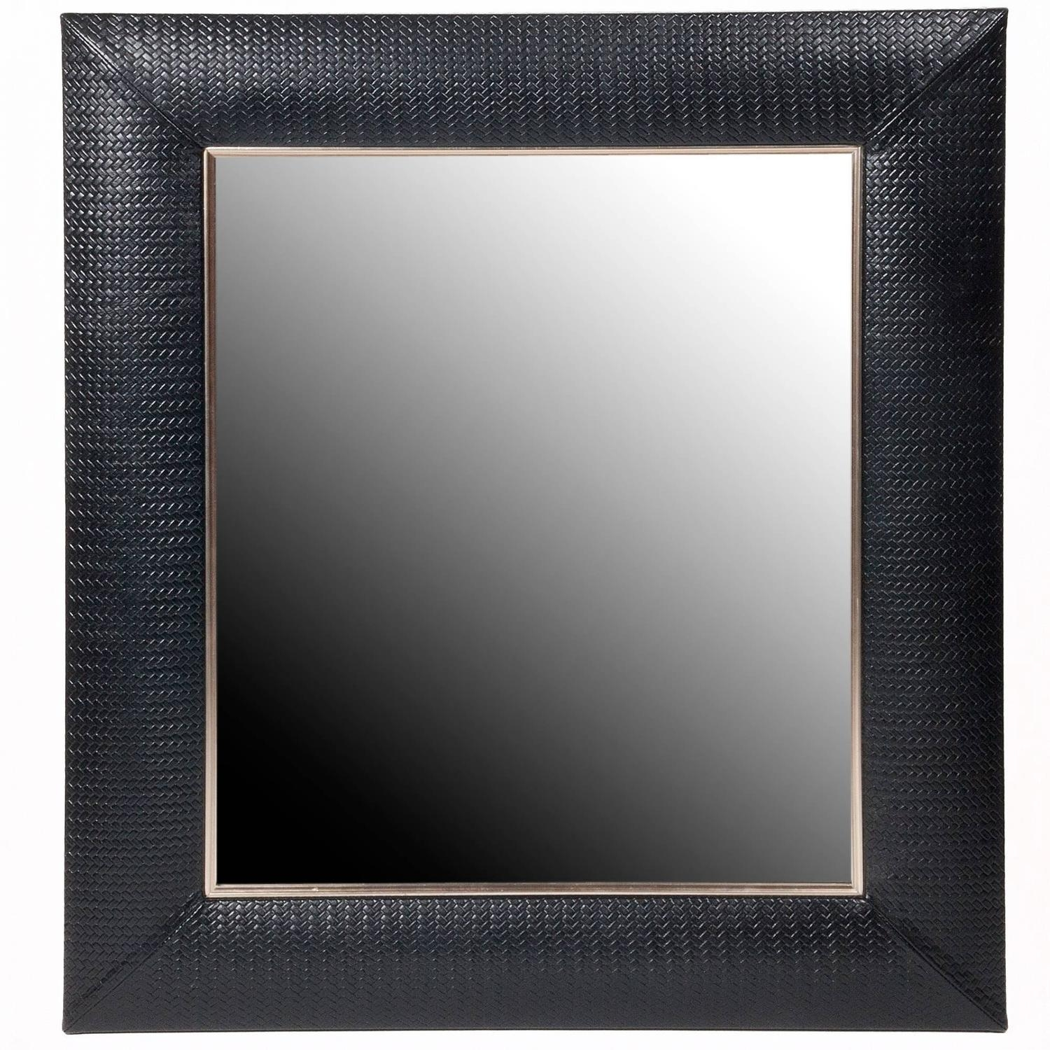 Leather Wall Mirrors 94 For Sale At 1stdibs Regarding Black Leather Framed Mirror (Image 7 of 15)