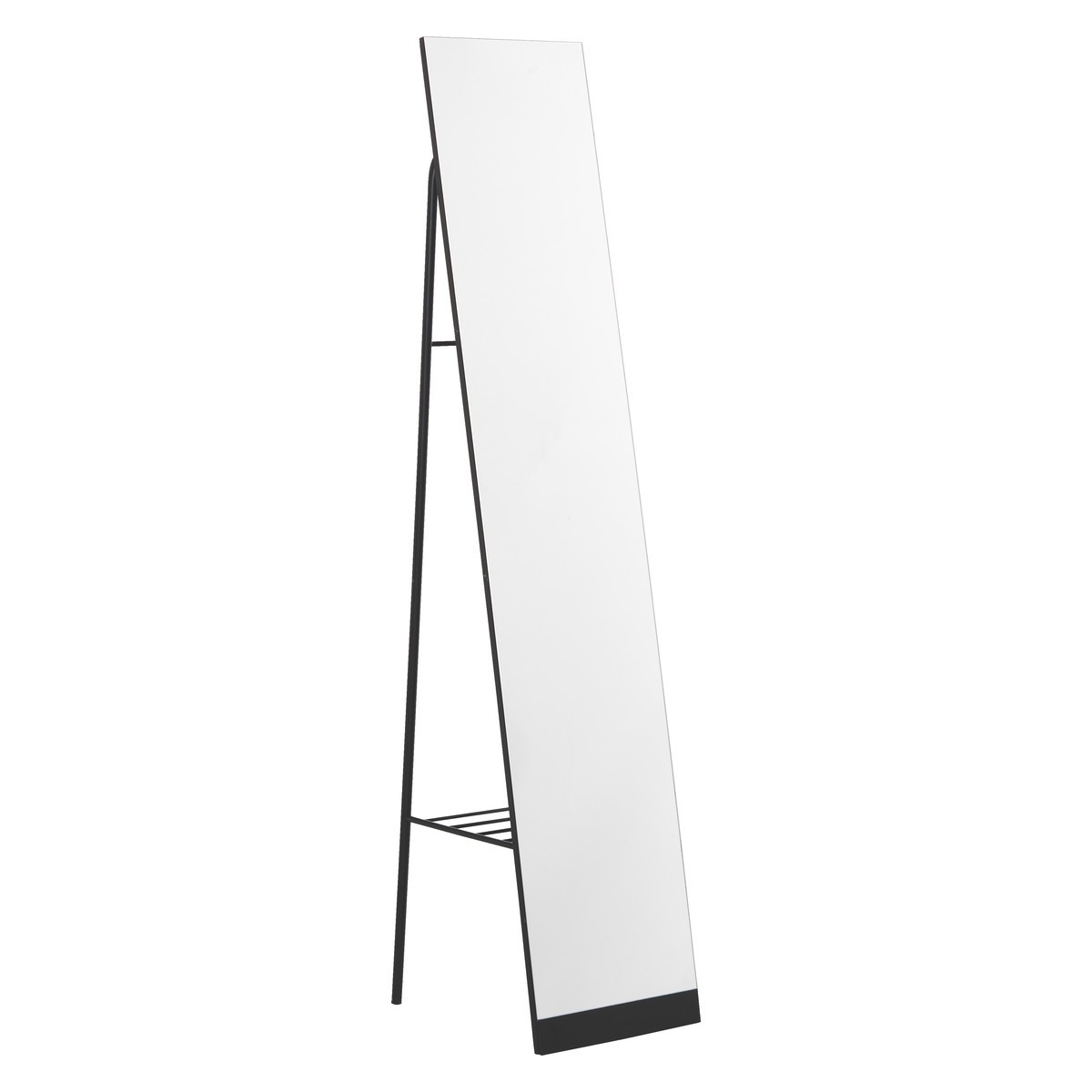 Leni Black Metal Free Standing Mirror With Storage Buy Now At Within Black Free Standing Mirror (Image 13 of 15)