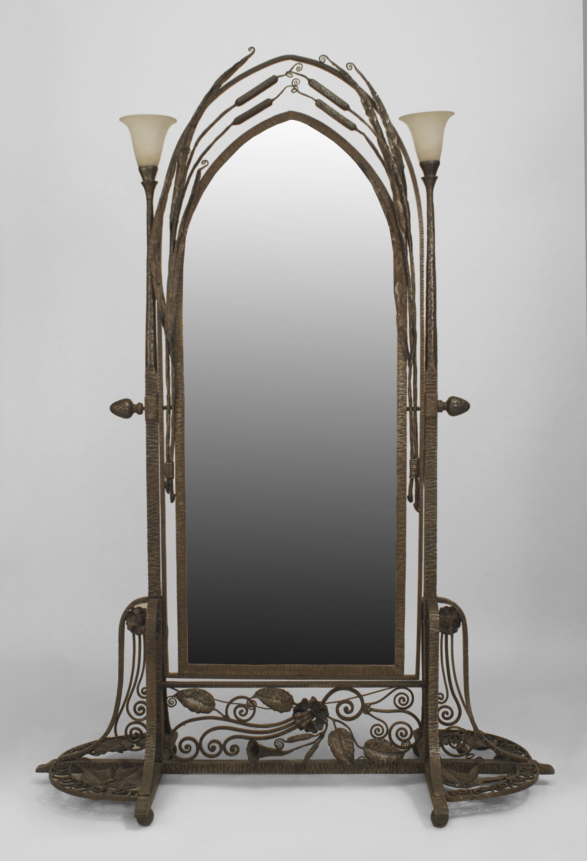 Lg French Art Deco Wall Metal Mirror 38h Decor Pinterest With Art Deco Full Length Mirror (View 3 of 15)