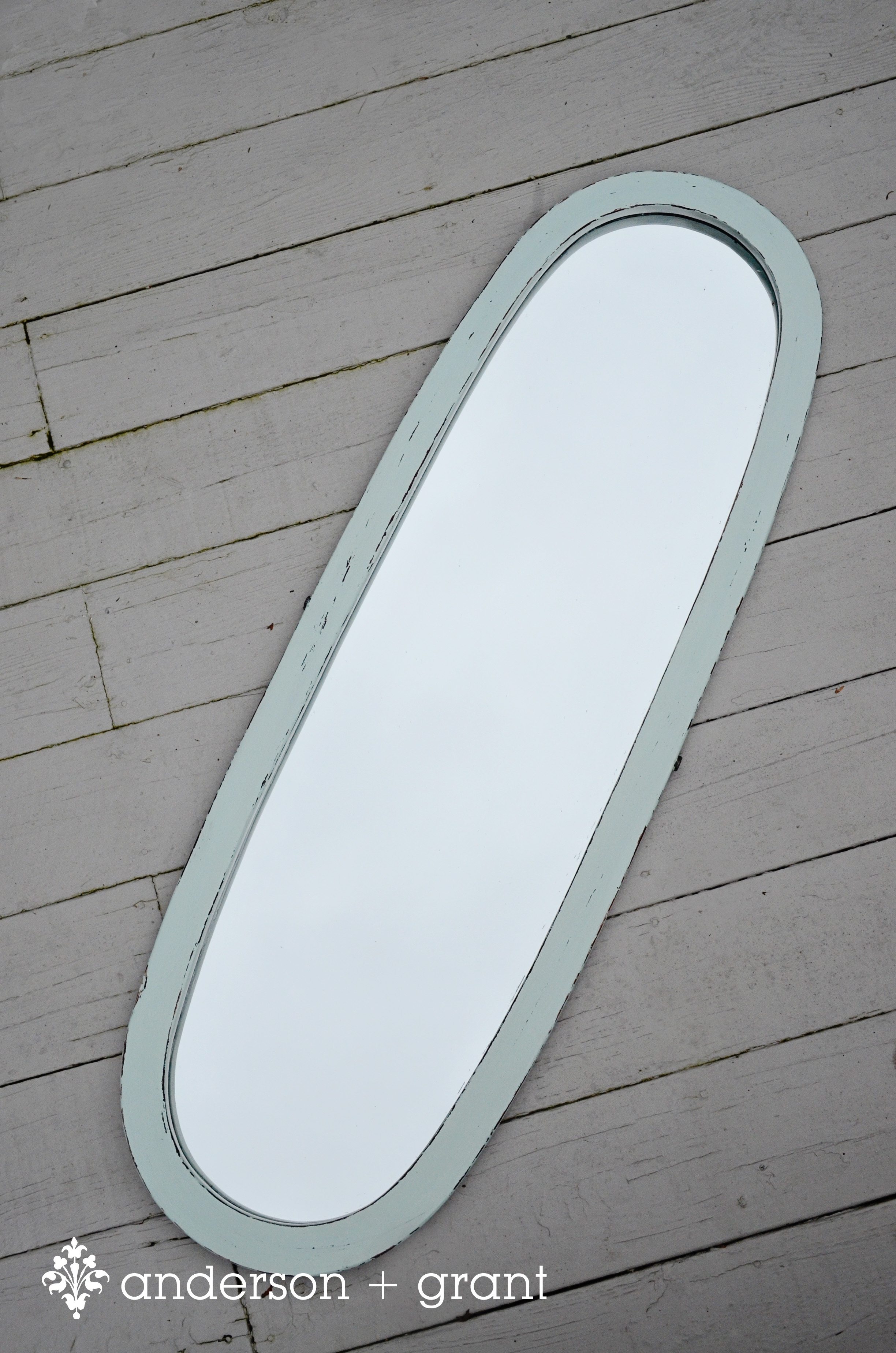 Light Aqua Oval Long Hanging Mirror Intended For Long Oval Mirror (View 7 of 15)