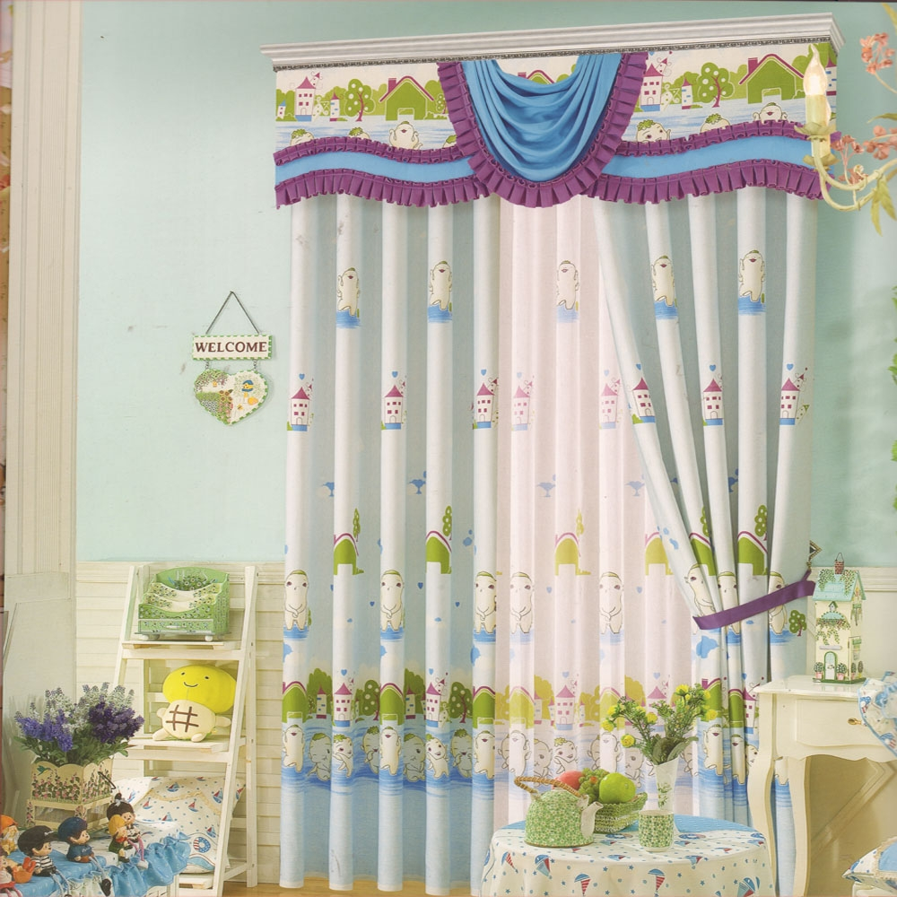 Light Blue Kids Curtains Cute Patterns Cotton Fabric No Valance For Cotton Fabric For Curtains (Image 12 of 15)