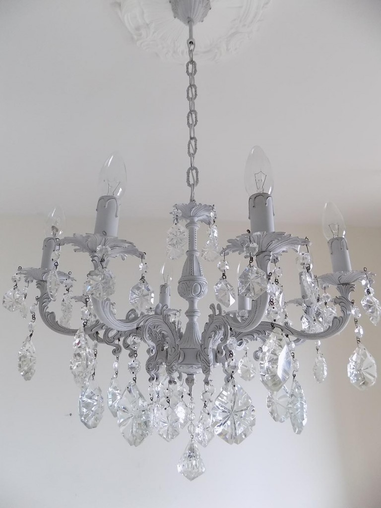 Light Grey Italian Vintage Glass Crystal Chandelier Lorella Dia Regarding Grey Crystal Chandelier (Image 10 of 15)