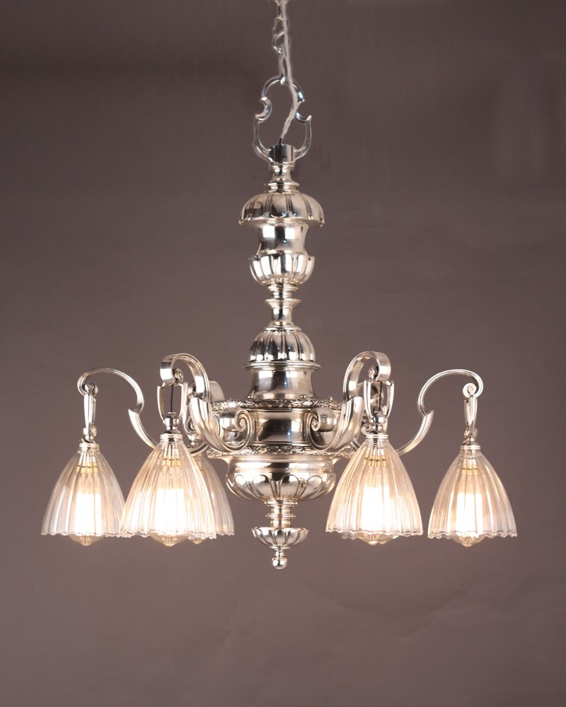 Lighting Fine Quality Substantial Silver Plate English Edwardian With Edwardian Chandelier (Image 15 of 15)