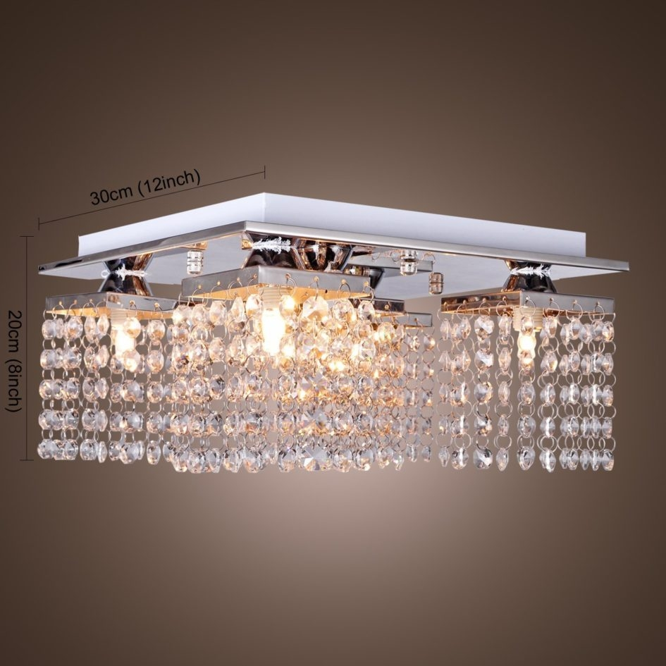Lighting Ideas Modern Polished Chrome Flush Mount Crystal Regarding Chandelier For Low Ceiling (Image 13 of 15)