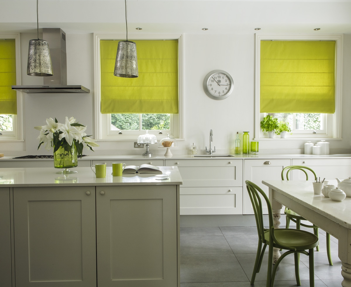 Lime Green Patterned Roman Shades Ideas Photograph Green Blinds Inside Green Roman Blinds (Image 11 of 15)