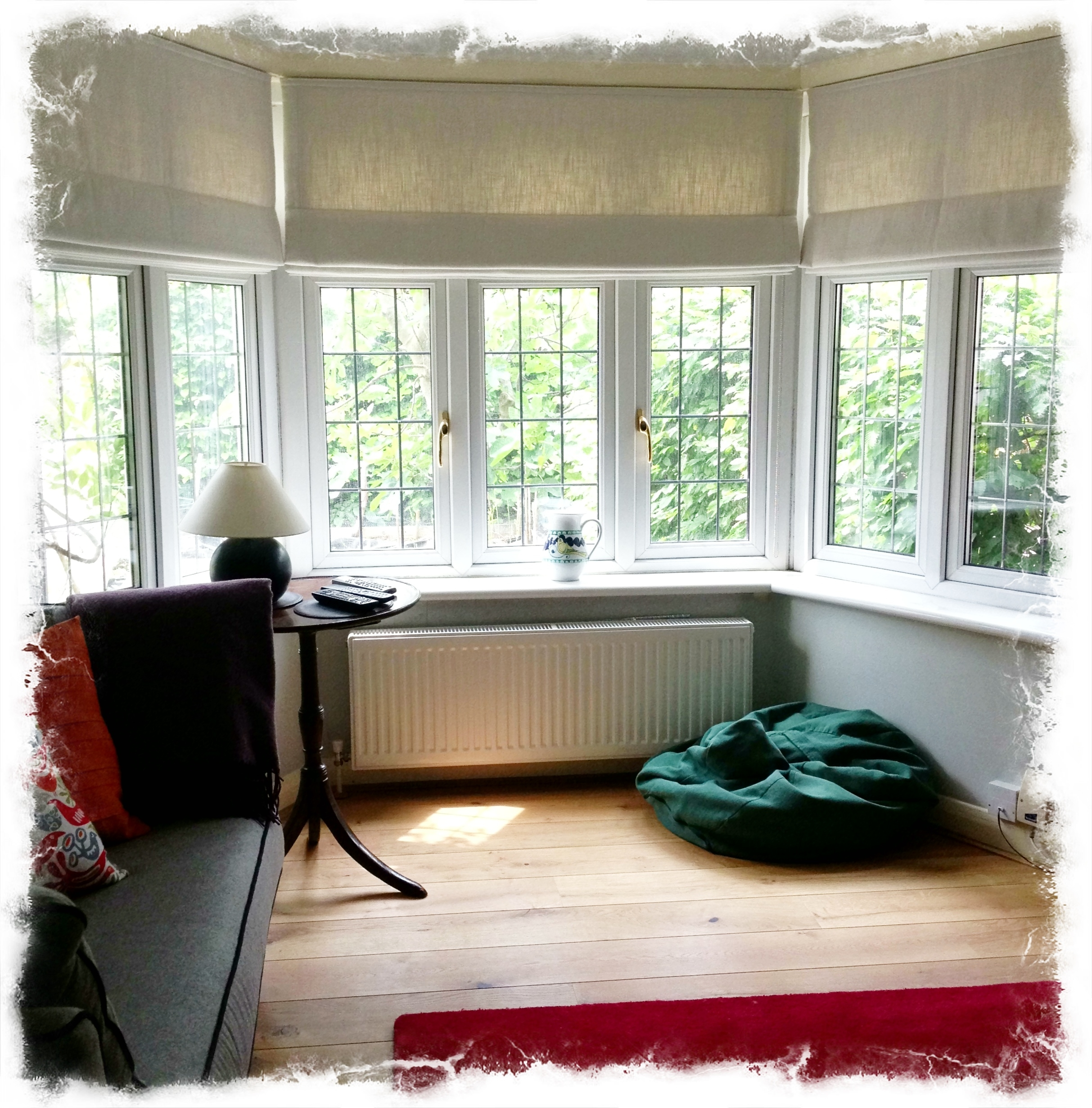 Lined And Interlined Roman Blinds For A Bay Window Made Www In Roman Blinds On Bay Windows (Image 8 of 15)
