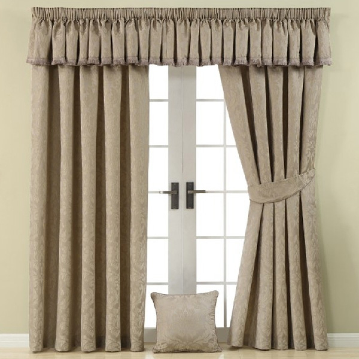 Lined Pencil Pleat Curtains Taupe For Pencil Pleat Curtains (Image 5 of 15)