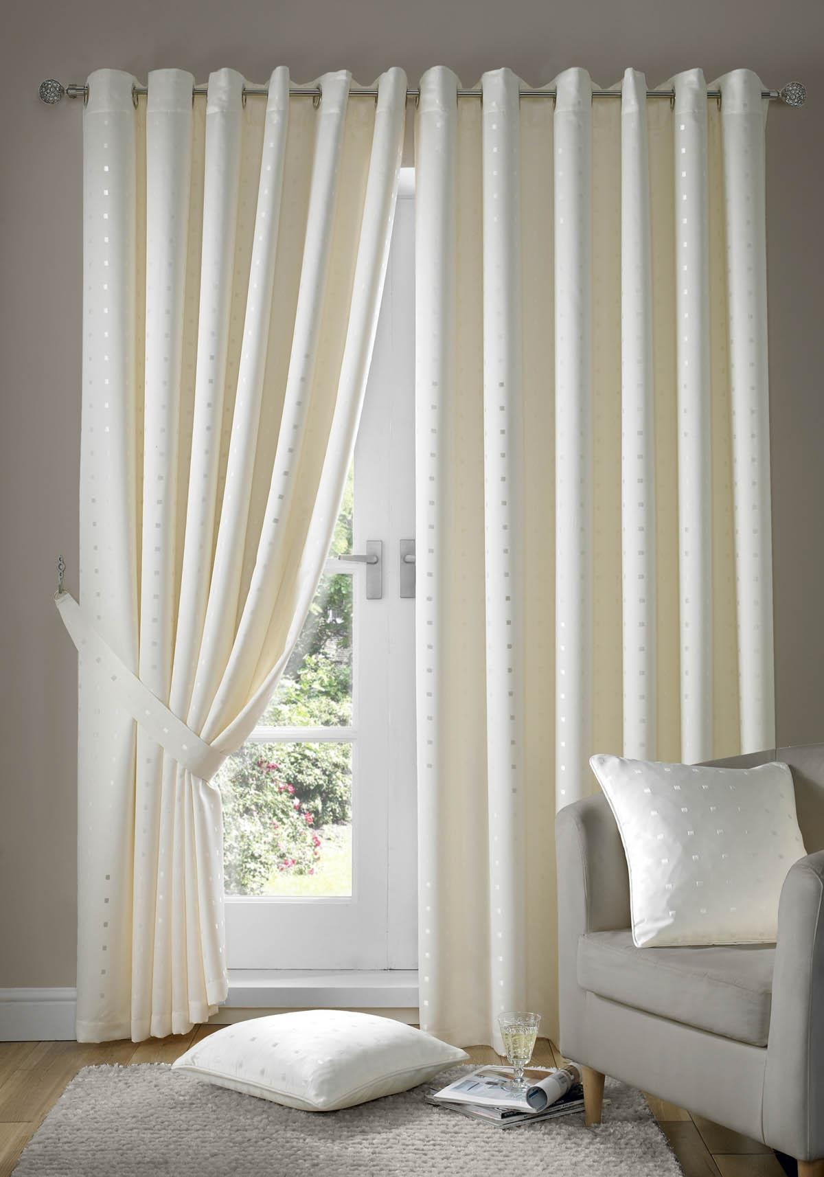 Lined White Curtains Decor Venice Scroll Design Voile Eyelet Dove For Lined Cream Curtains (Image 10 of 15)
