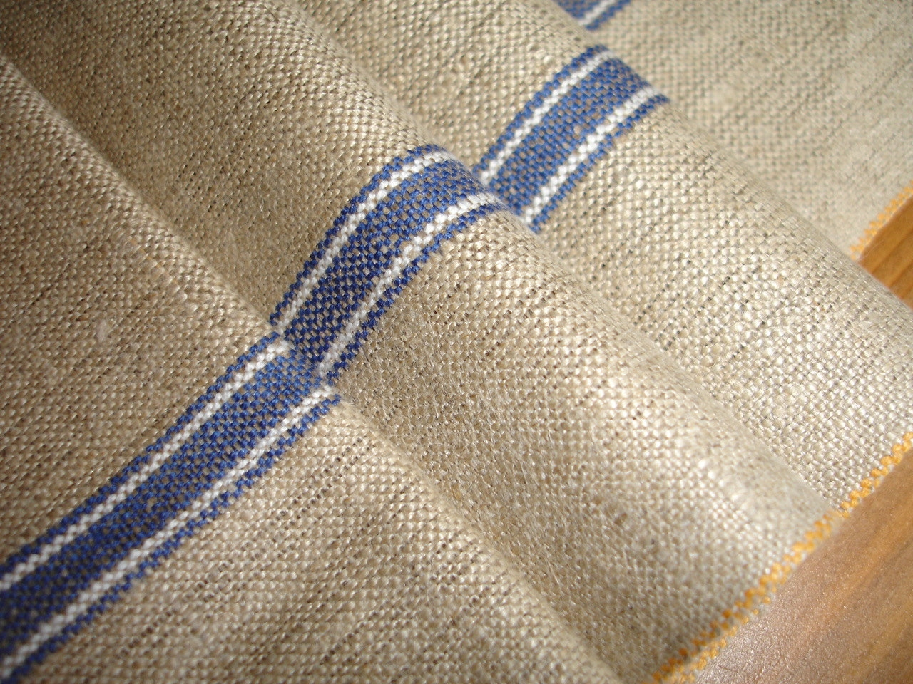 Linen Mangle Cloth Banquet Tablecloth Blue White Stripes With Blue And White Striped Roman Blinds (Image 6 of 15)