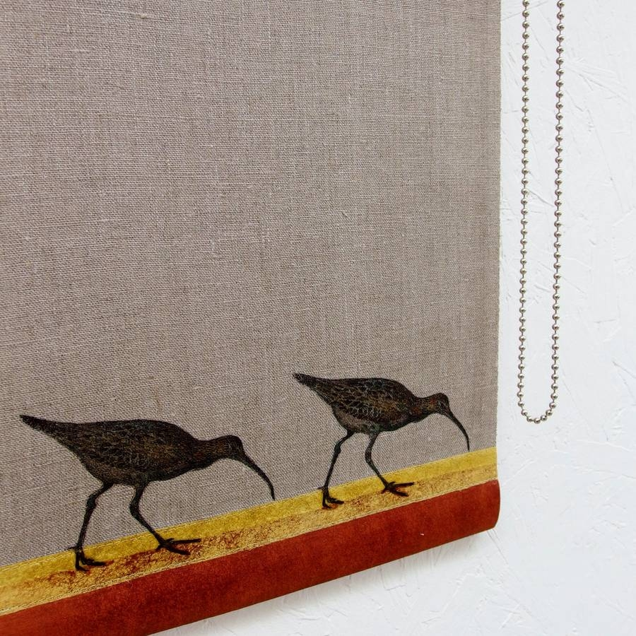 Linen Roller Blind With Curlews On The Shore Mogwaii Design Pertaining To Linen Roller Blind (Image 7 of 15)