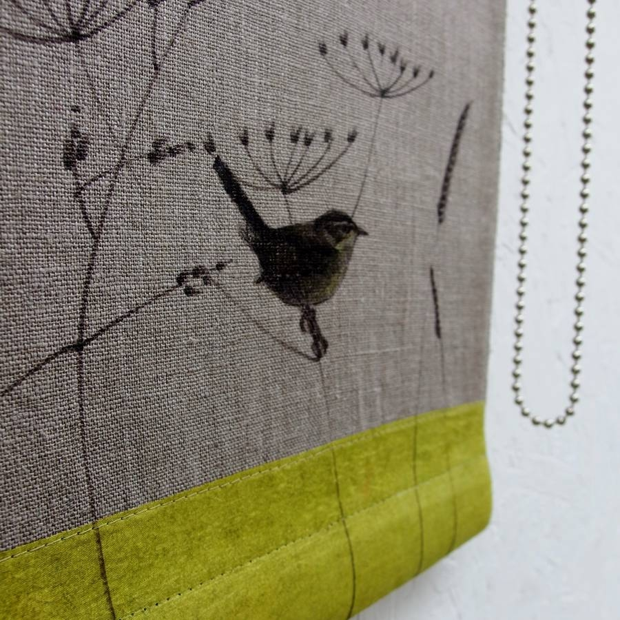 Linen Roller Blind With Wren And Wild Grasses Mogwaii Design Pertaining To Linen Roller Blind (Image 8 of 15)