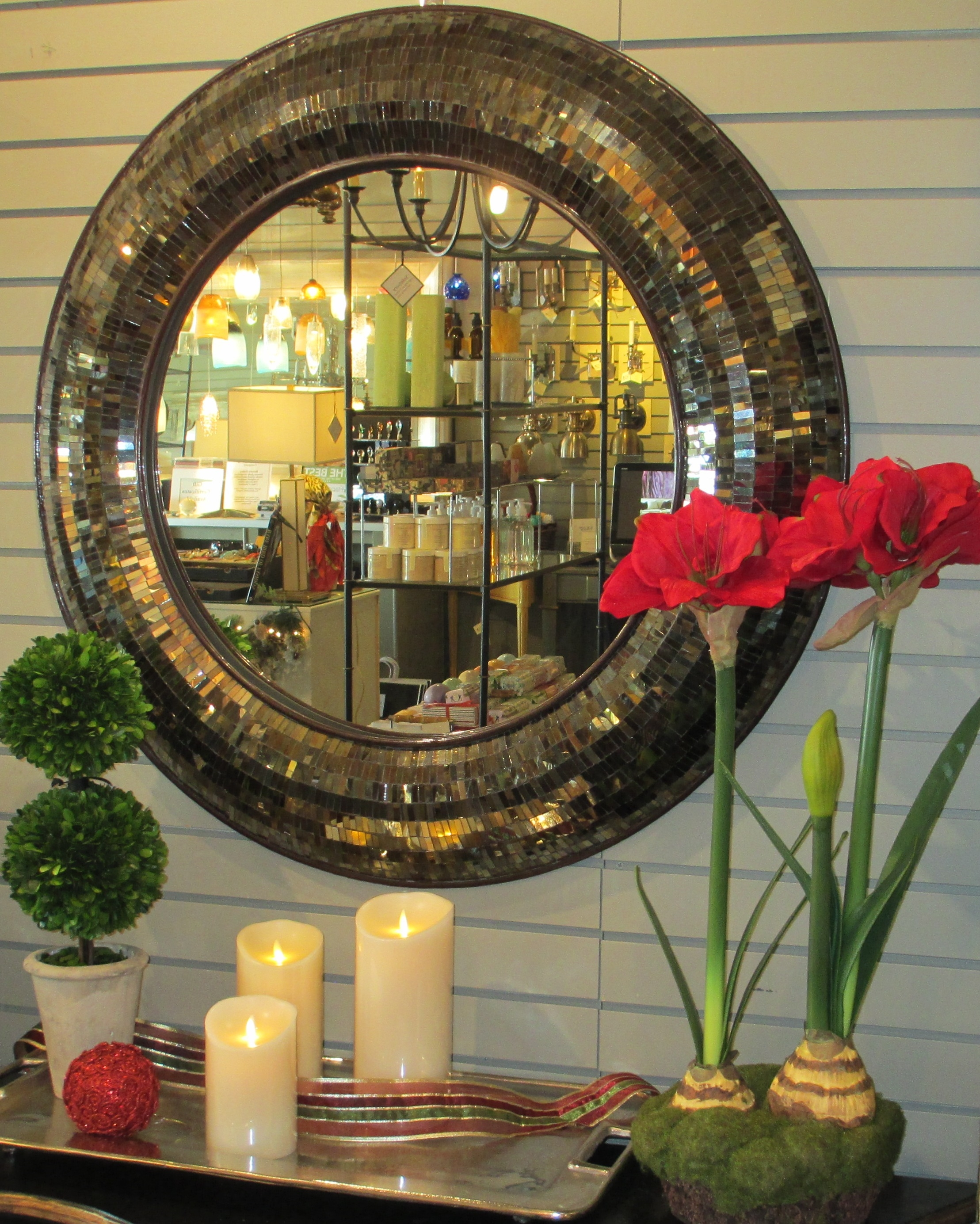Liven Up The Holidays Solebury Lighting And Home Throughout Bronze Mosaic Mirror (Image 13 of 15)